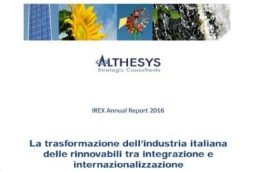 """RAPPORTO ANNUALE IREX 2016 """"L'INDUSTRIA ELETTRICA ITALIANA: RINNOVABILI, MERCATO E NUOVI SCENARI"""""""